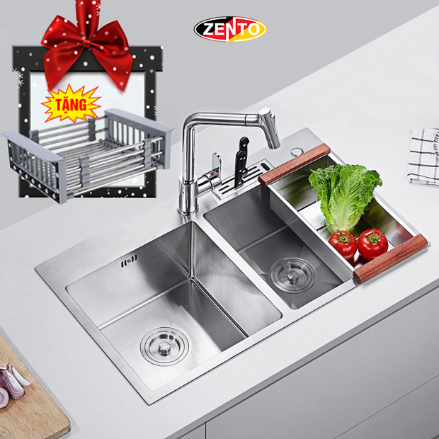 Chậu rửa bát inox 2 hố cân Zento HD8245C-201(New)