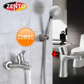 Cặp đôi sen tắm và vòi chậu lavabo inox304 Zento CB012