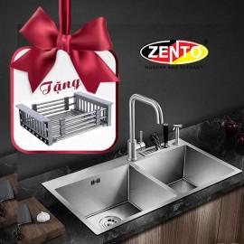 Chậu rửa bát inox 2 hố cân Zento HD8245C-304 (New)