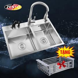 Chậu rửa bát inox 2 hố cân Zento HD8045C-304
