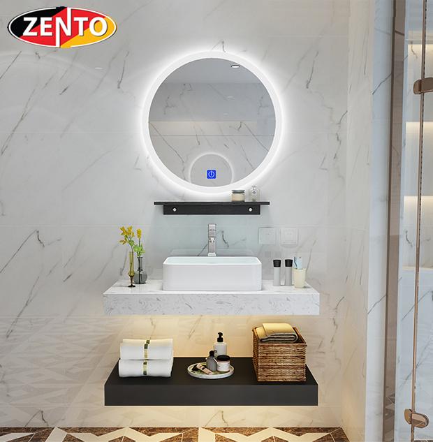 Bộ chậu lavabo, bàn đá, kệ gương đèn led ZT-LV8972-6087